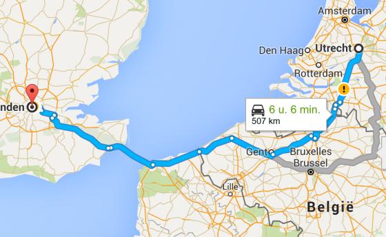 Route Utrecht-Londen